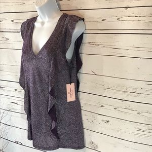 Juicy Couture Sparkly Purple Flutter Sleeve V Neck